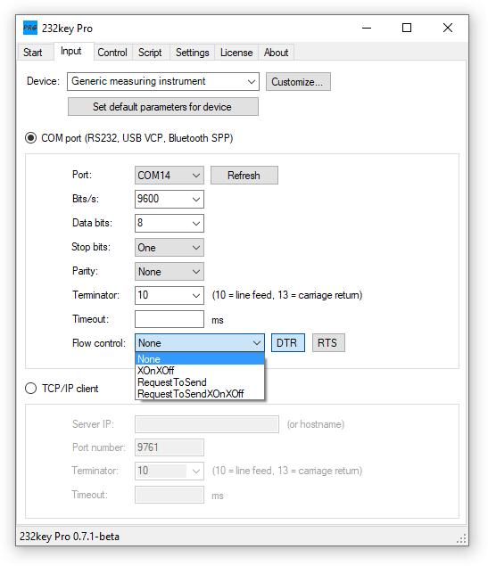 232key Pro flow control (handshaking)