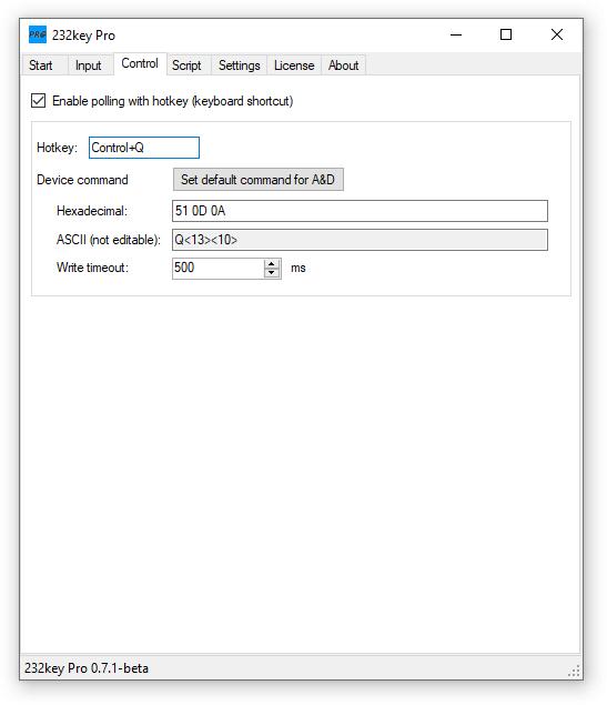 232key Pro control tab