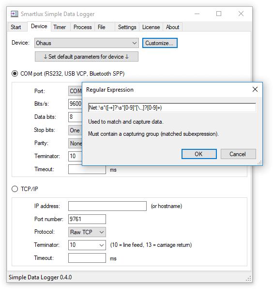 Capture net weight using custom regular expression
