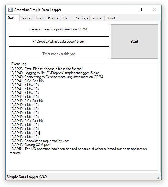 Event log in Simple Data Logger