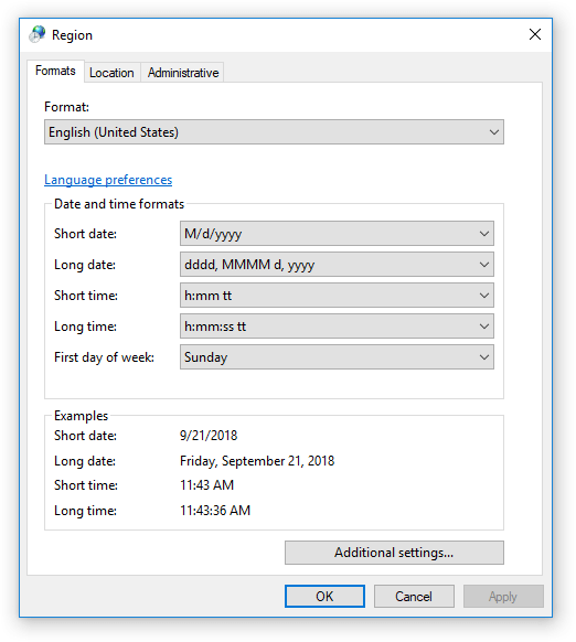 Region formats in Windows