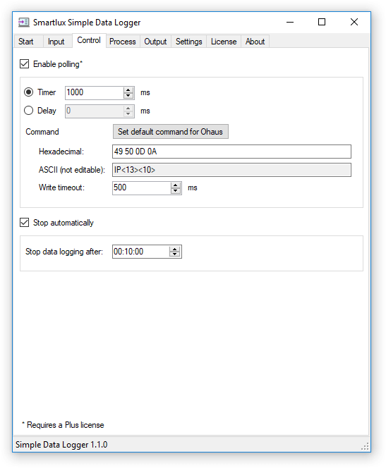 Control tab: Polling and auto stop