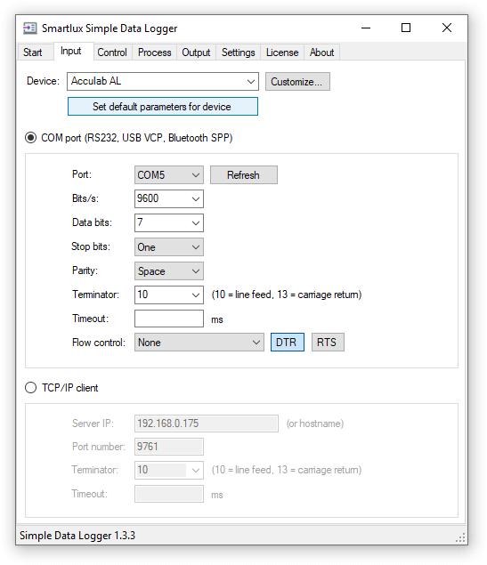 Acculab AL default RS-232 settings
