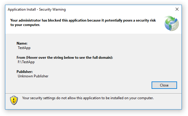 Your security settings do not allow this application to be installed on your computer