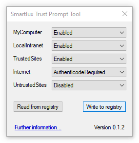 Write trust prompt configuration to registry